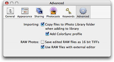 iPhoto 6 Advanced Prefs